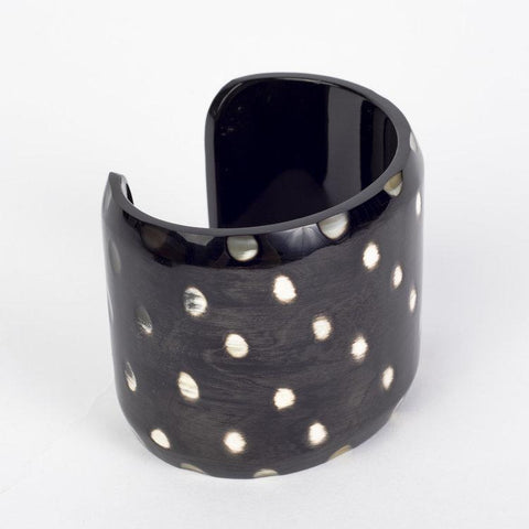 Water buffalo dark horn wide cuff bracelet with white spots