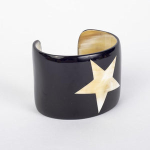 Water buffalo dark horn wide cuff bracelet with inlaid white star