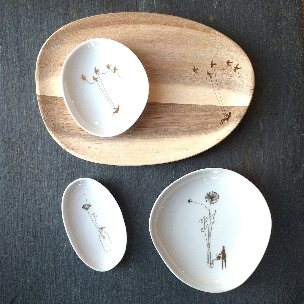 Small wonderland gold bowl set & tray in acacia wood in pretty Voyage pattern with modern folklore twist by räder