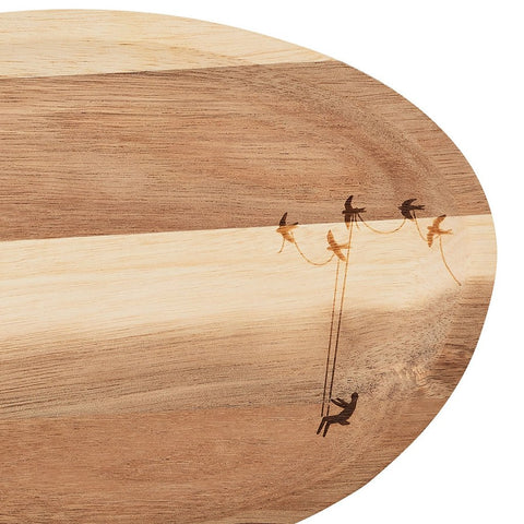 Small wonderland tray in acacia wood in pretty Voyage pattern with modern folklore twist  by räder - close view