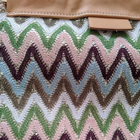 Zig Zag Clutch / Shoulder Bag in Green & Blue - Close Up