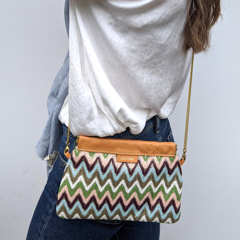Zig Zag Clutch / Shoulder Bag in Green & Blue - Model