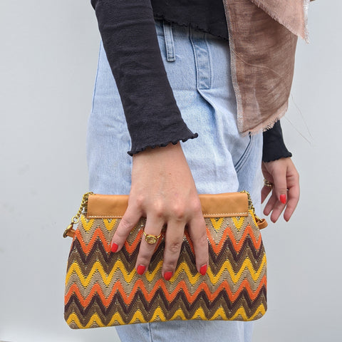 Zig Zag Clutch / Shoulder Bag in Orange & Yellow - Model 1