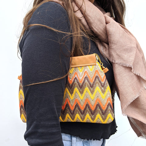 Zig Zag Clutch / Shoulder Bag in Orange & Yellow - Model 2