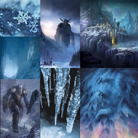 Mood board with seven images of ice, ice giants, and ice cities for July's Into The Lore club inspiration.