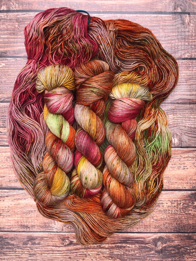 Apple Picking on BFL CashSilk Sock