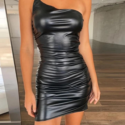 Strap PU Pleated Mini Dress