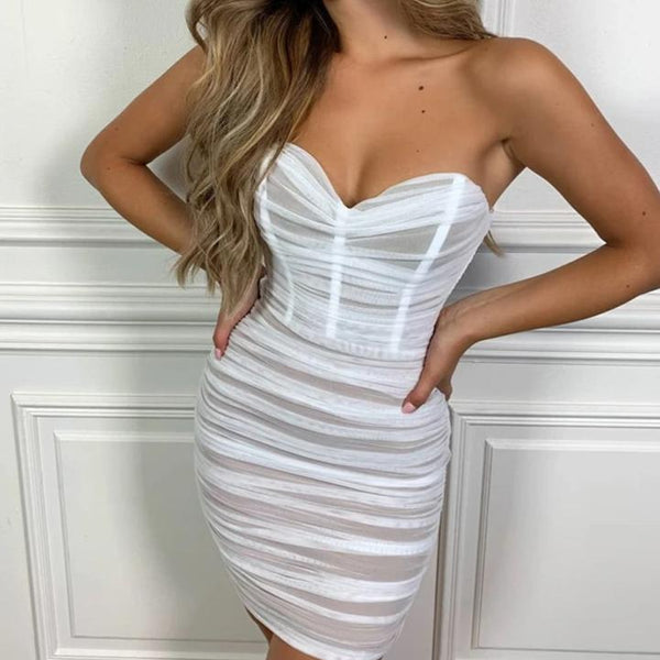 Mesh Pleated Strapless Dress