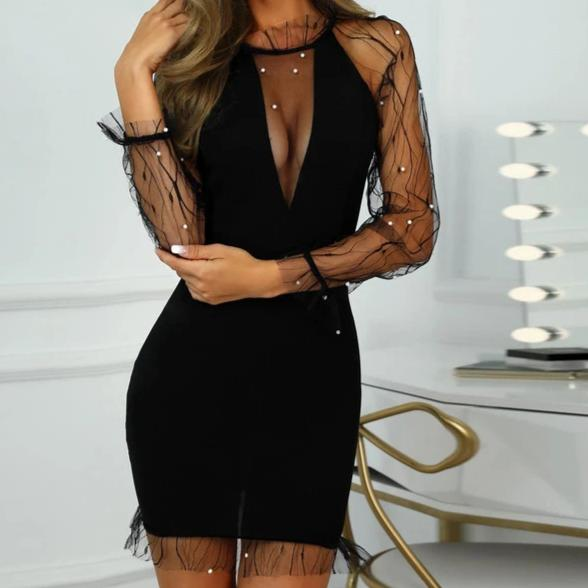See-Through Mesh Pearl Dress