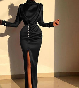 Elegant Long Sleeve High Split Diamonds Dress