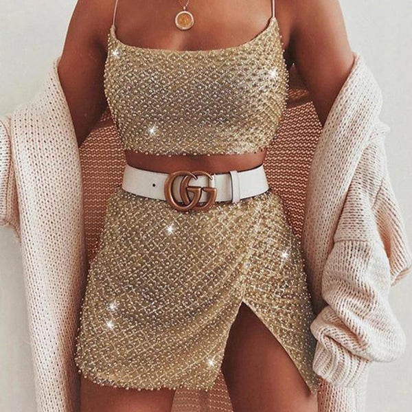 Sequin Beading Mesh With Lining Backless Dress & Set