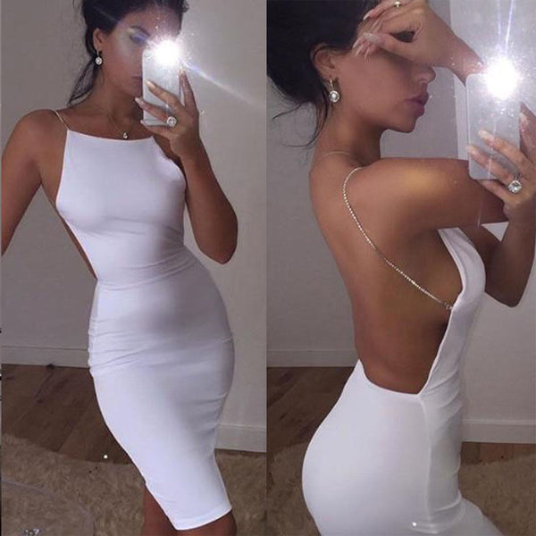 A Girl in Diamonds White Backless Dress