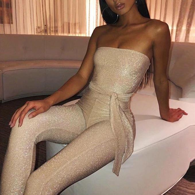 Off Shoulder Sashes Jumpsuit