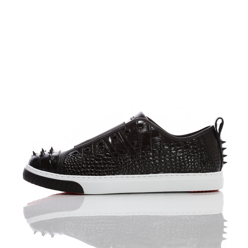 Women's Crazy Horse Black Croco - Low Top Leather Sneakers