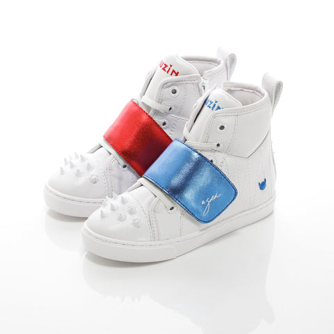 White, Blue & Red High Top Sneakers