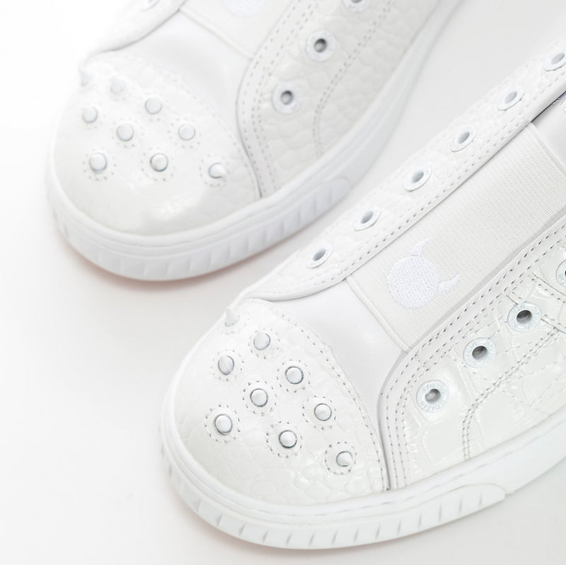 Women's Crazy Horse White Croco - Low Top Leather Sneakers