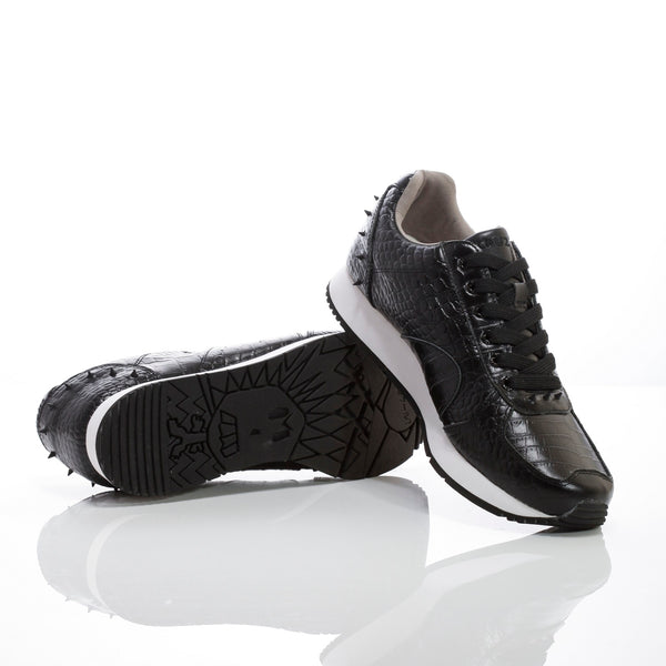 Boston | Mens Black Croco Leather Sneakers