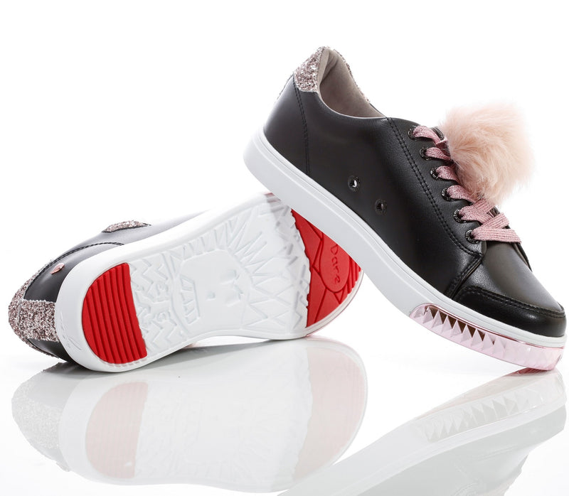 Womens Nicki Black & Pink- Low Top Glitter Sneakers