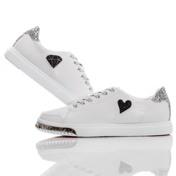 Womens Nicki White & Silver - Low Top Glitter Sneakers
