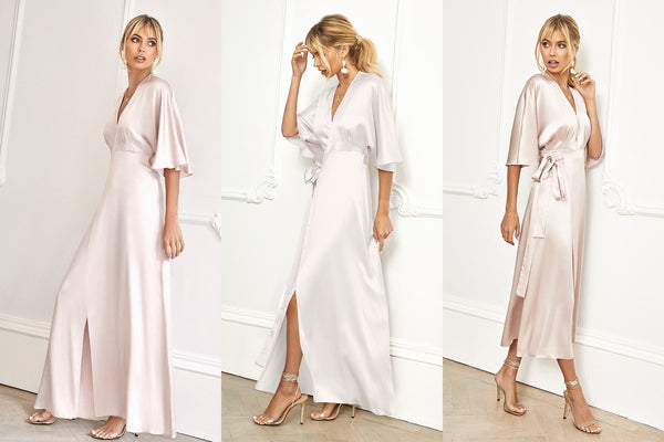 New silk kimono sleeve wedding and bridesmaid dresses added to our range