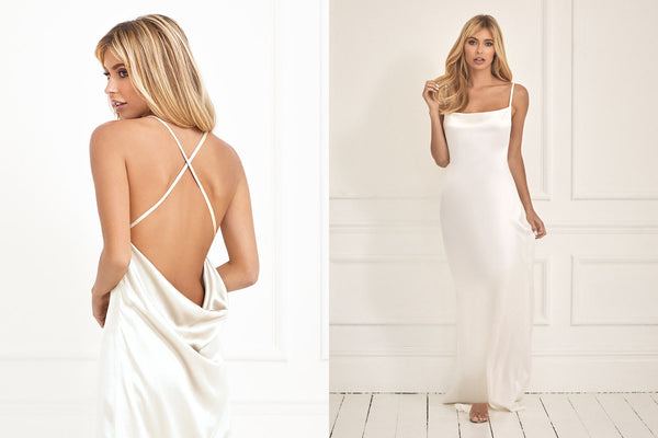 New luxe ivory silk Arabella wedding dress