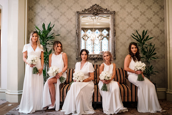 Stunning and elegant ivory bridesmaid dresses