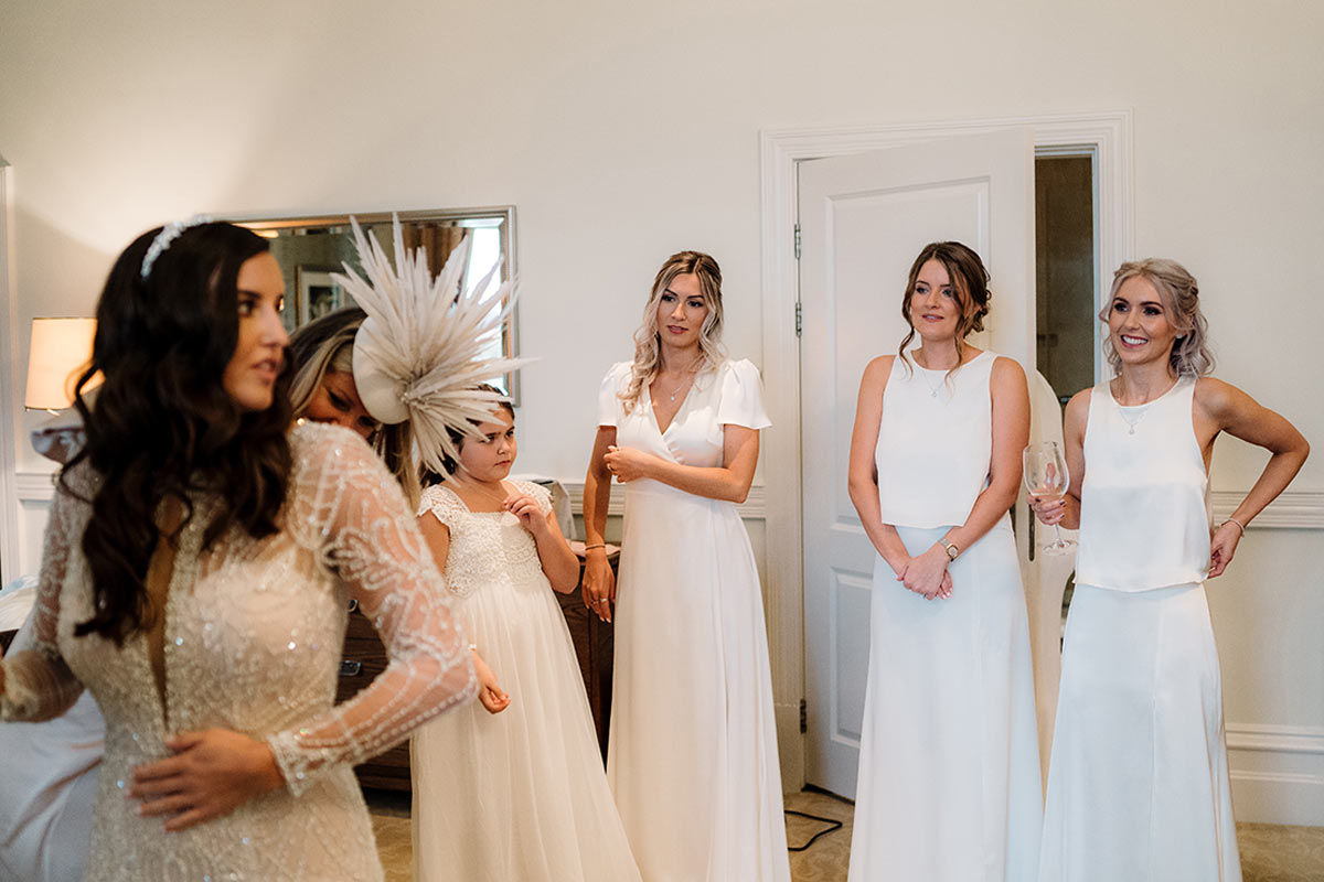 Mismatched ivory bridesmaid dresses