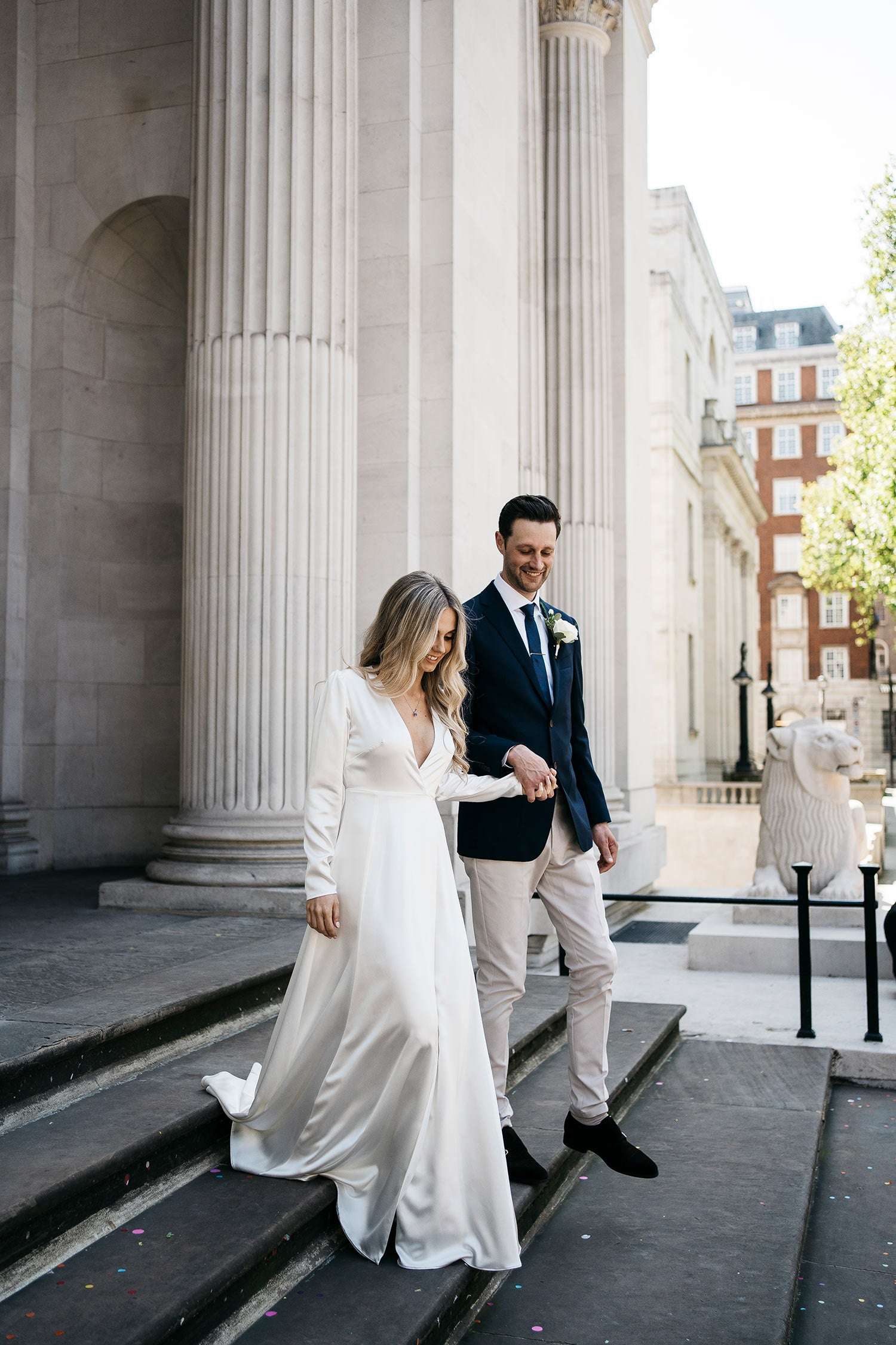 Our bride Charlotte wearing our Olsen Silk Wedding Dress shortly after her weding at Marylebond Town Hall