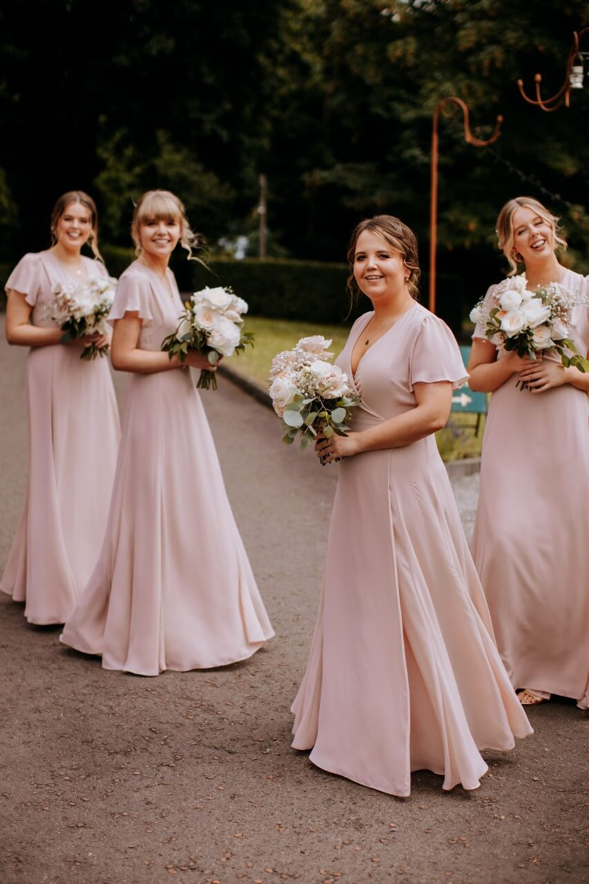 Pink bridesmaid dresses made in London by Constellation Ame
