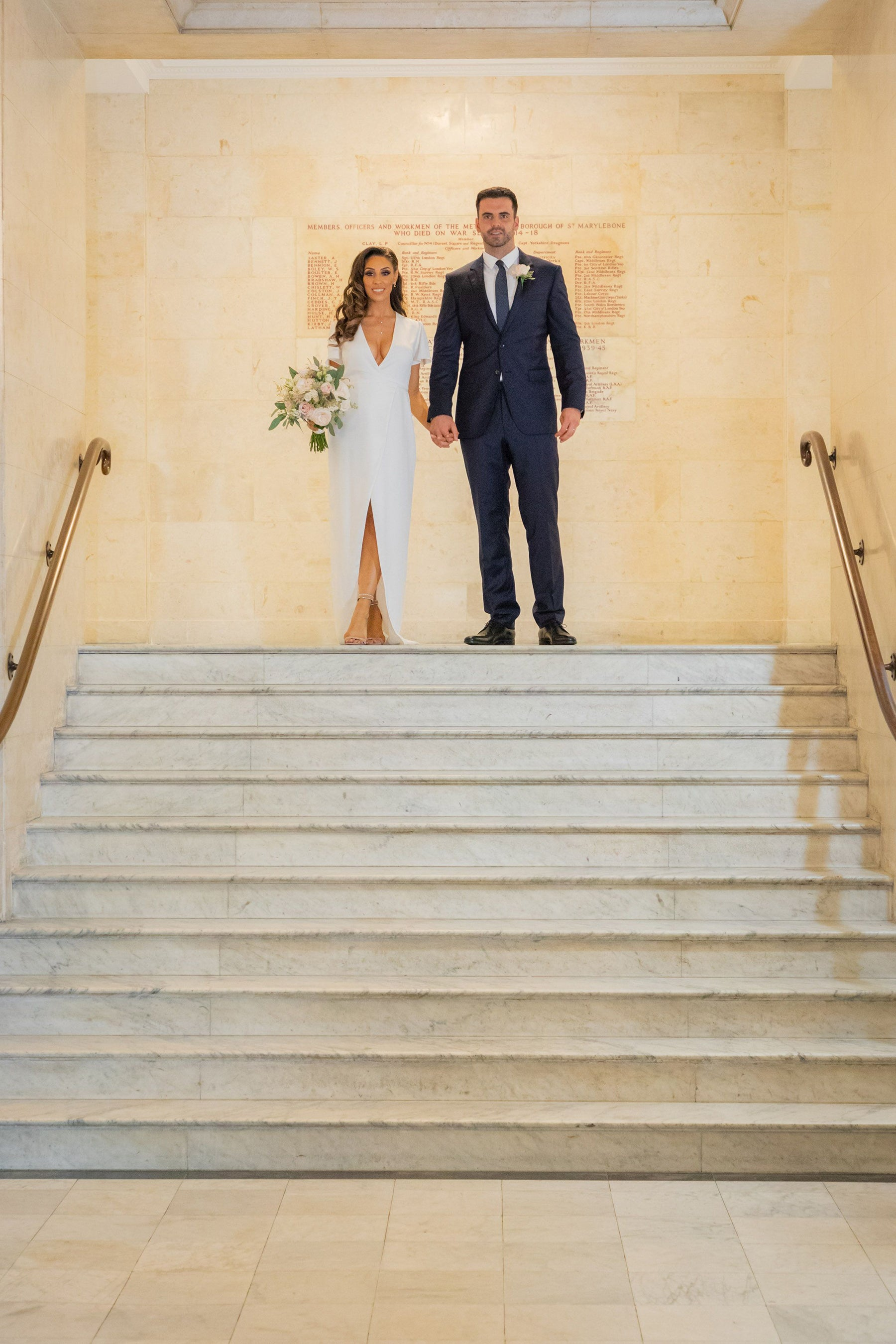 Bride Jessica in our Esmee Wedding Dress at her registry office wedding at Old Marylebone Town Hall