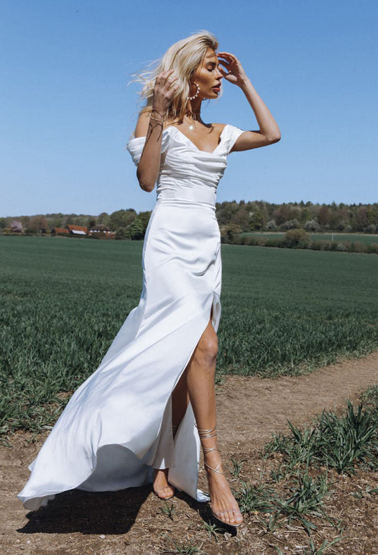Ivory silk wedding dress