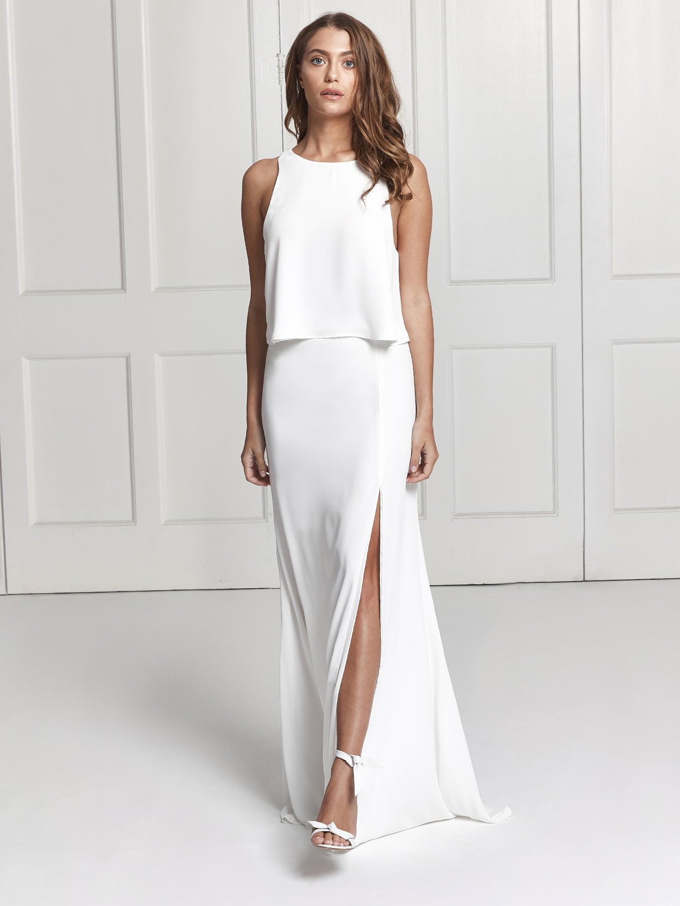 Rosie ivory crepe 2-piece skirt and top bridesmaid set