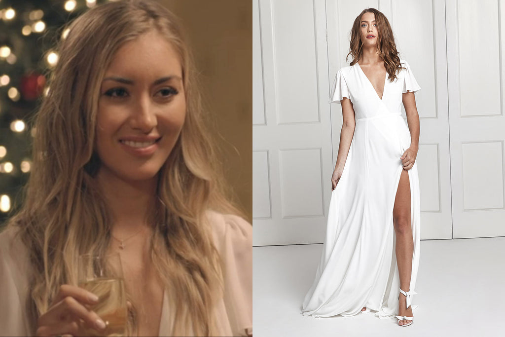 Sophie Habboo wearing a bridesmaid dress from Constellation Âme