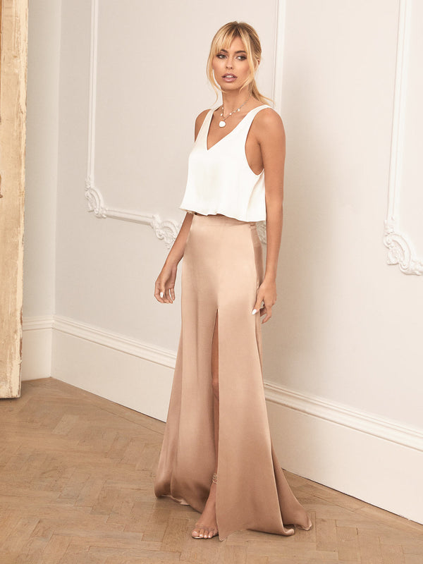Champagne silk skirt and ivory silk top 2-piece bridesmaid set