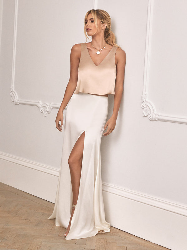 Alma ivory silk skirt & champagne top set