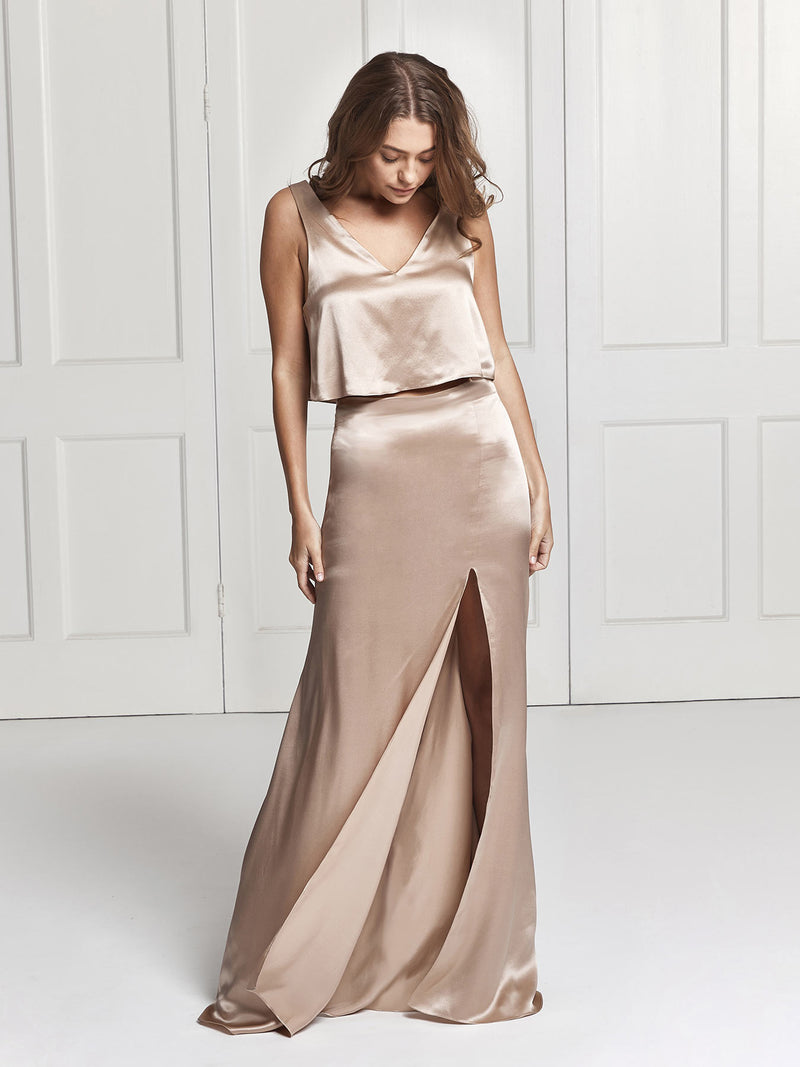 Alma silk skirt and top in champagne colour