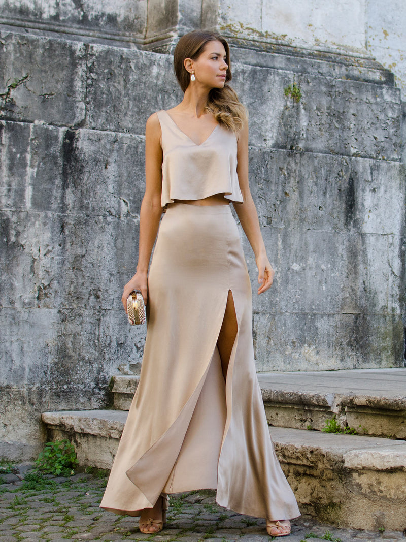 Alma champagne silk skirt & top set