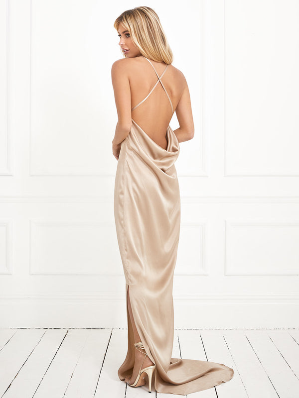 The Arabella champagne silk dress
