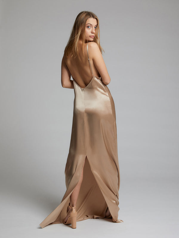 Heloise Agostinelli wearing the Charlotte Champagne Silk Dress