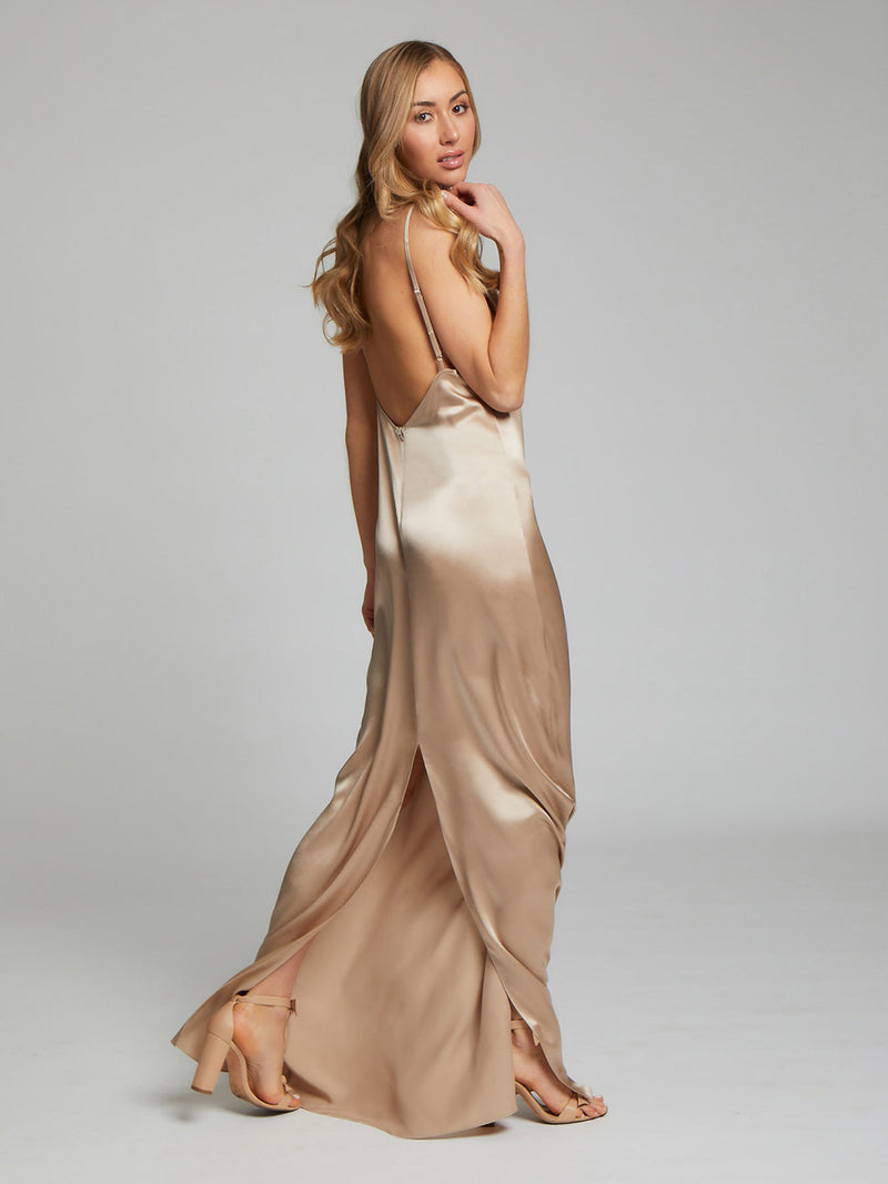 Sophie Habboo wearing the Charlotte Champagne Silk Dress