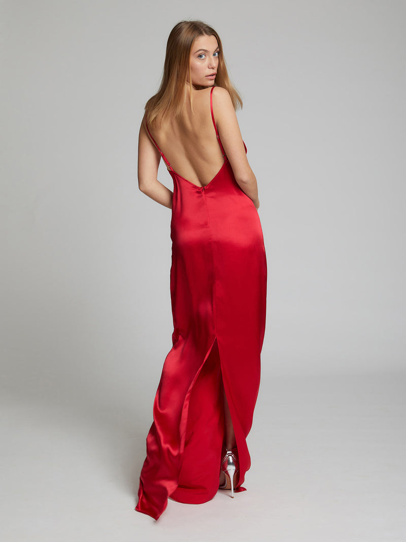 The back view of the Charlotte silk slip dress in red