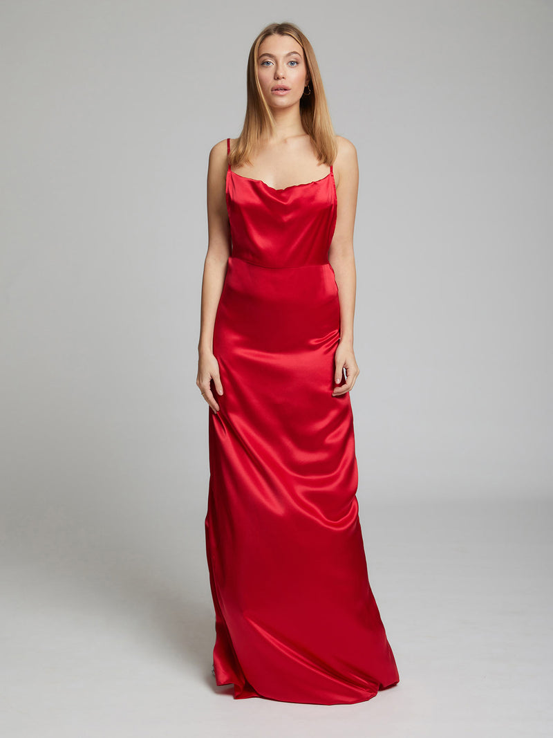 The Charlotte silk slip dress in red