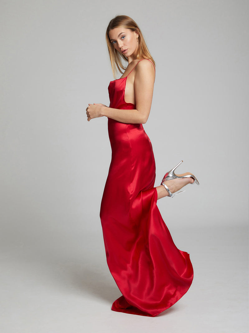 Heloise Agostinelli wearing our red Charlotte silk slip dress