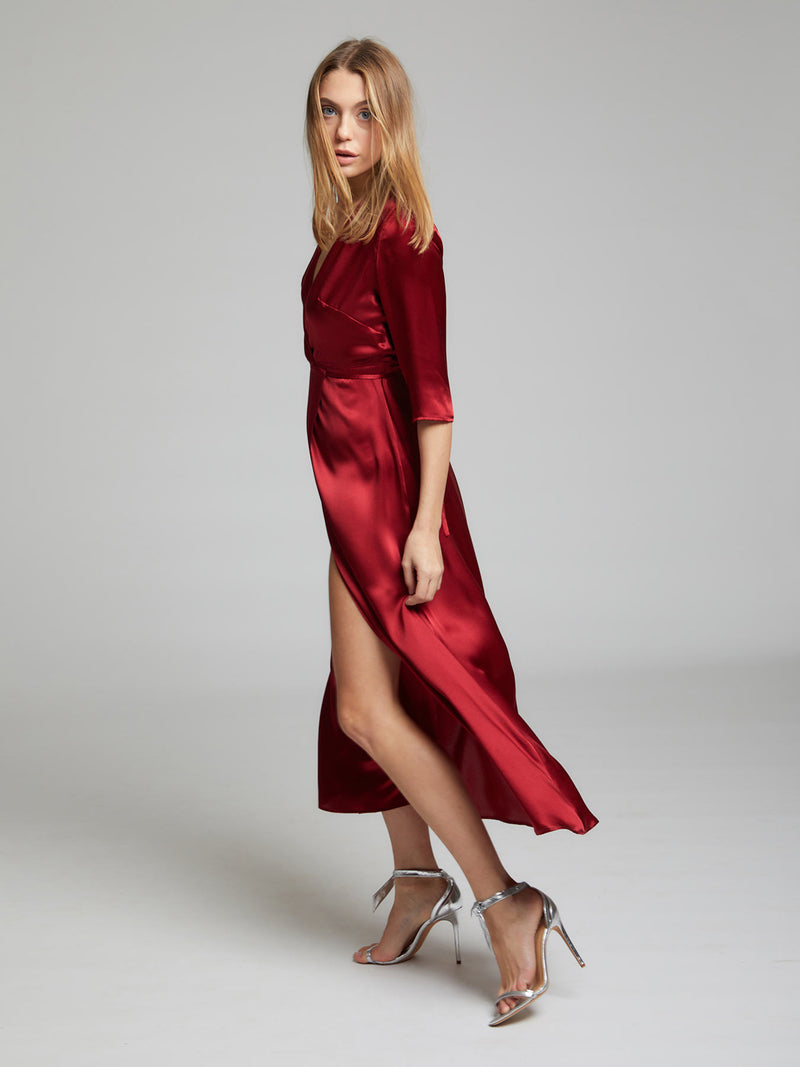 The Diana evening and occasion dress in deep red made from 100% silk