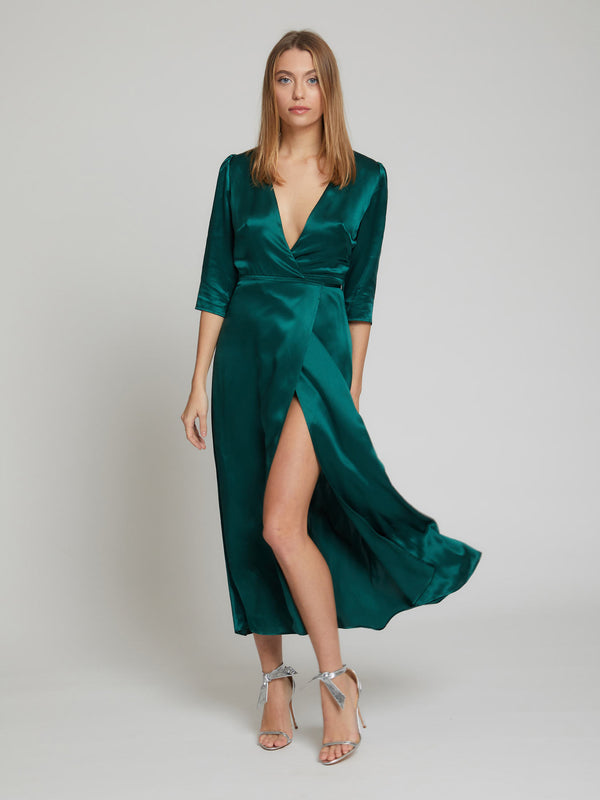 The Diana midi silk dress in winter green worn by Heloise Agostinelli
