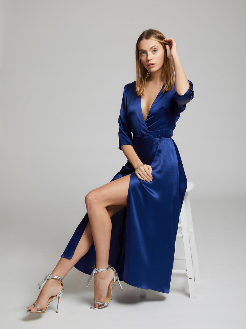 The Diana midi silk dress in blue worn by Heloise Agostinelli