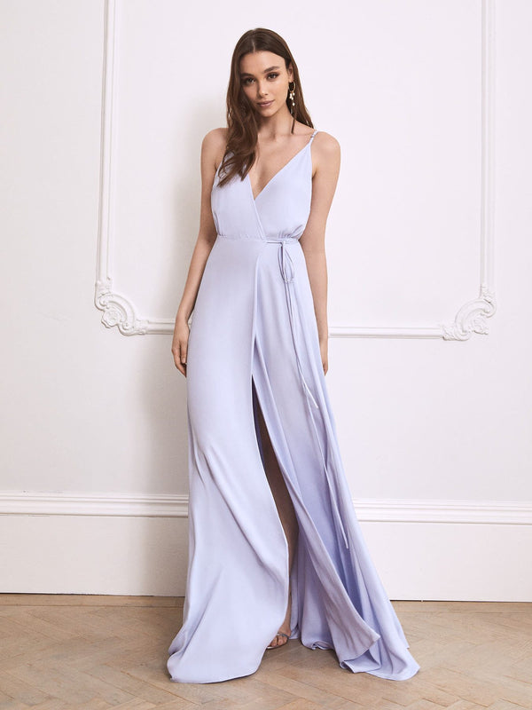 The Ella heather blue / lavender bridesmaid dress