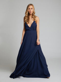 Evelyn wrap navy blue dress