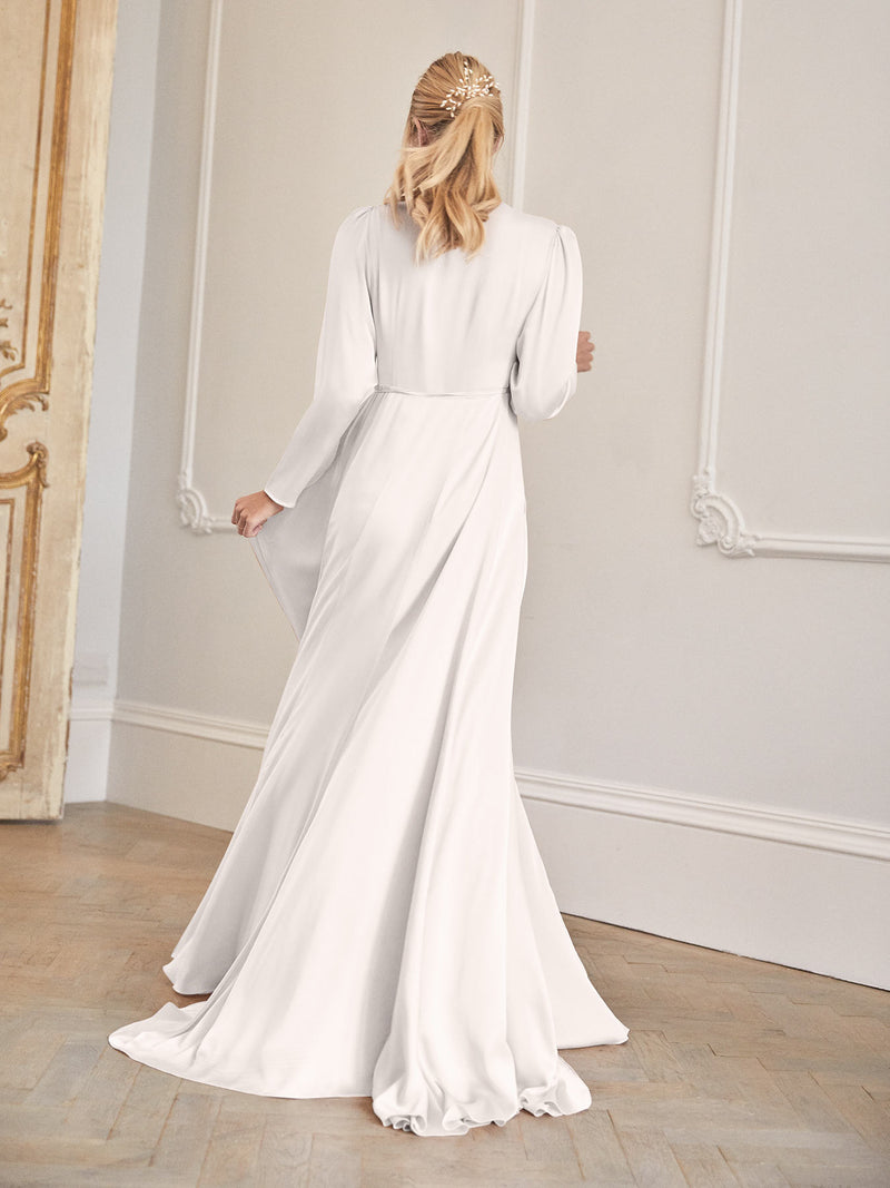 The Evie wrap wedding dress worn by Amy Neville