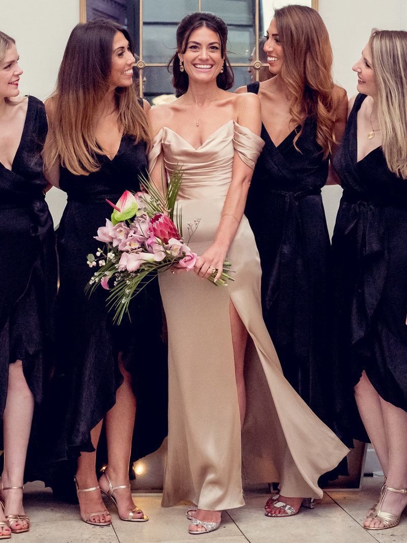 Faye silk champagne dress